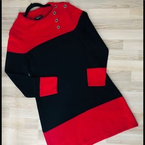 Style & Company cotton Red & Black sweater Dress